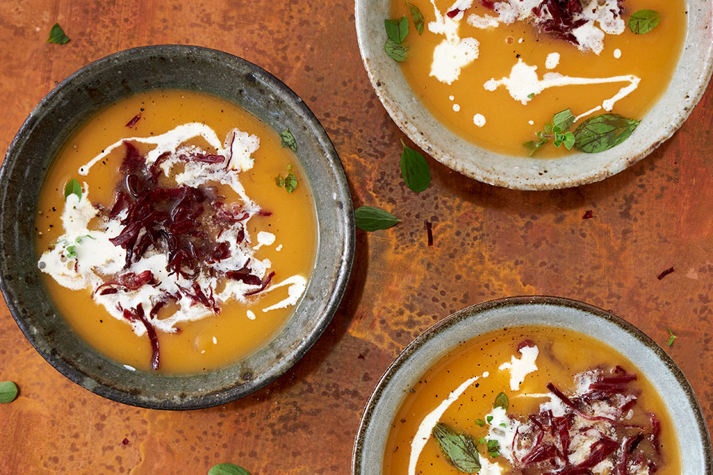 Soupe de patates douces et viande séchée